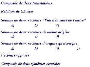 Compose de deux translations Relation de Chasles Somme