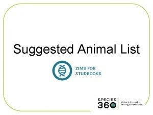 Suggested Animal List Suggested Animal List Displays a