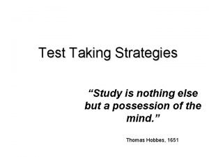 Test Taking Strategies Study is nothing else but