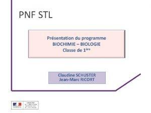 PNF STL Claudine SCHUSTER JeanMarc RICORT Positionnement STL