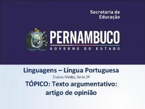 Linguagens Lngua Portuguesa Ensino Mdio Srie 2 TPICO