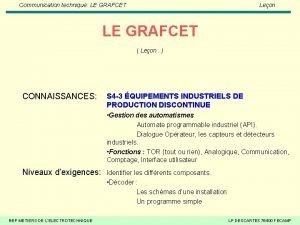 Communication technique LE GRAFCET Leon LE GRAFCET Leon