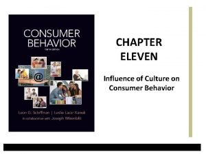 CHAPTER ELEVEN Influence of Culture on Consumer Behavior