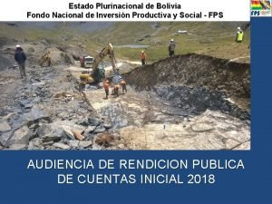 Estado Plurinacional de Bolivia Fondo Nacional de Inversin