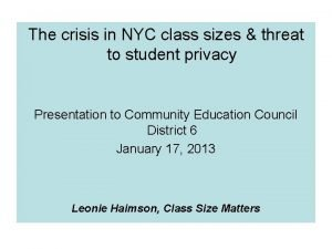 The crisis in NYC class sizes threat to