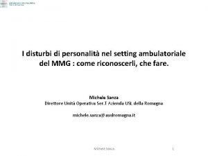 I disturbi di personalit nel setting ambulatoriale del