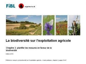 La biodiversit sur lexploitation agricole Chapitre 3 planifier