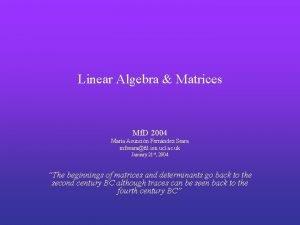 Linear Algebra Matrices Mf D 2004 Mara Asuncin