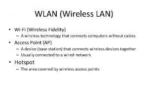 WLAN Wireless LAN WiFi Wireless Fidelity A wireless