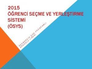 2015 RENC SEME VE YERLETRME SSTEM SYS P