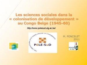 Les sciences sociales dans la colonisation de dveloppement