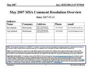 May 2007 doc IEEE 802 11 070755 r
