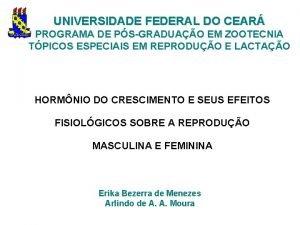 UNIVERSIDADE FEDERAL DO CEAR PROGRAMA DE PSGRADUAO EM