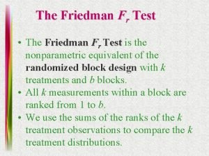 The Friedman Fr Test The Friedman Fr Test