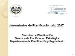 Lineamientos de Planificacin ao 2017 Direccin de Planificacin