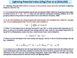 Lightning Potential Index JKg Yair et al 2010