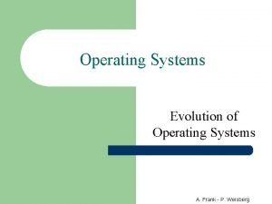 Operating Systems Evolution of Operating Systems A Frank