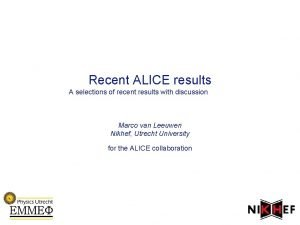 Recent ALICE results A selections of recent results