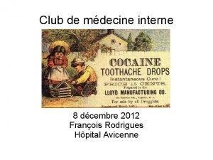 Club de mdecine interne 8 dcembre 2012 Franois