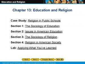Education and Religion Chapter 13 Education and Religion