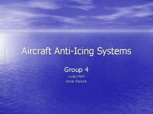 Aircraft AntiIcing Systems Group 4 Leslie Mehl Annie