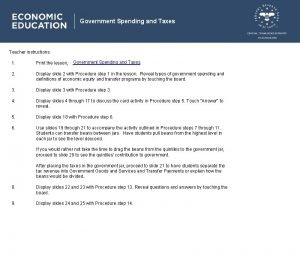 Government Spending and Taxes Teacher instructions Government Spending
