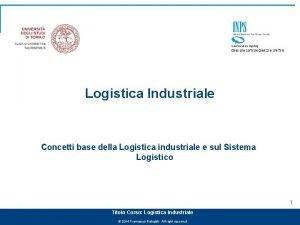 Logistica Industriale Concetti base della Logistica industriale e