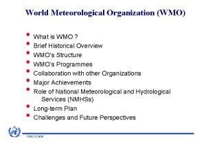 World Meteorological Organization WMO What is WMO Brief