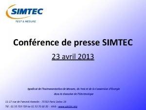 Confrence de presse SIMTEC 23 avril 2013 Syndicat