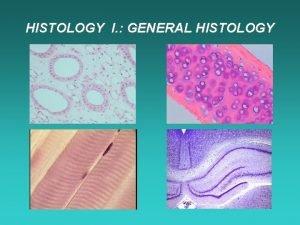 HISTOLOGY I GENERAL HISTOLOGY General histology describes the