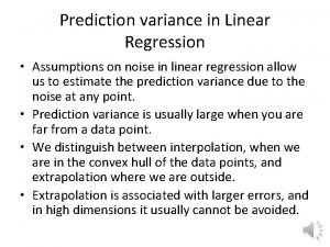 Prediction variance in Linear Regression Assumptions on noise