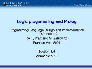 Logic programming and Prolog Programming Language Design and