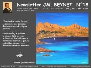 Newsletter JM BEYNET N 18 artistepeintre cot AKOUN