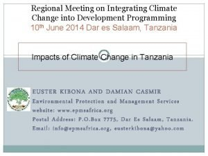 Regional Meeting on Integrating Climate Change into Development