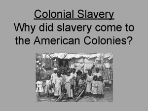 Colonial Slavery Why did slavery come to the