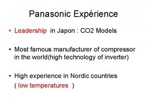 Panasonic Exprience Leadership in Japon CO 2 Models