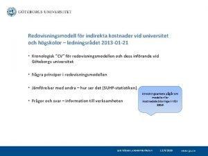 Redovisningsmodell fr indirekta kostnader vid universitet och hgskolor