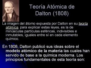 Teora Atmica de Dalton 1808 La imagen del