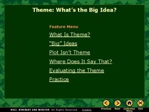 Theme Whats the Big Idea Feature Menu What