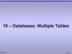19 Databases Multiple Tables Mark Dixon Page 1