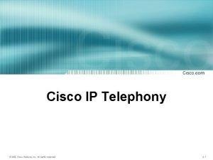 Cisco IP Telephony 2003 Cisco Systems Inc All