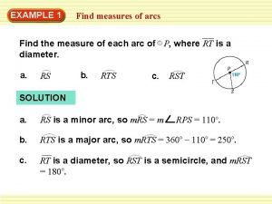 EXAMPLE 1 Find measures of arcs Find the