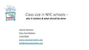 Class size in NYC schools why it matters