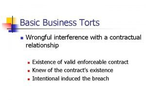 Basic Business Torts n Wrongful interference with a
