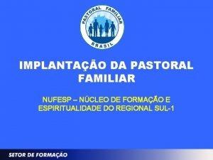 IMPLANTAO DA PASTORAL FAMILIAR NUFESP NCLEO DE FORMAO