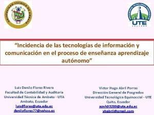 Incidencia de las tecnologas de informacin y comunicacin