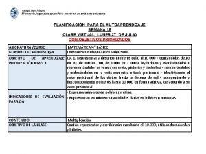 PLANIFICACIN PARA EL AUTOAPRENDIZAJE SEMANA 18 CLASE VIRTUAL