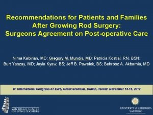 Recommendations for Patients and Families After Growing Rod