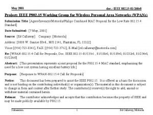 May 2001 doc IEEE 802 15 01260 r