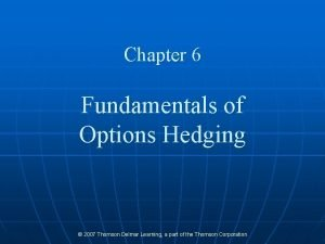 Chapter 6 Fundamentals of Options Hedging 2007 Thomson